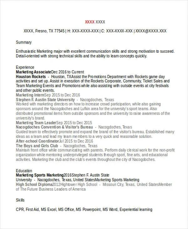 46 Professional Marketing Resume Free Premium Templates  Sports Marketing Resume