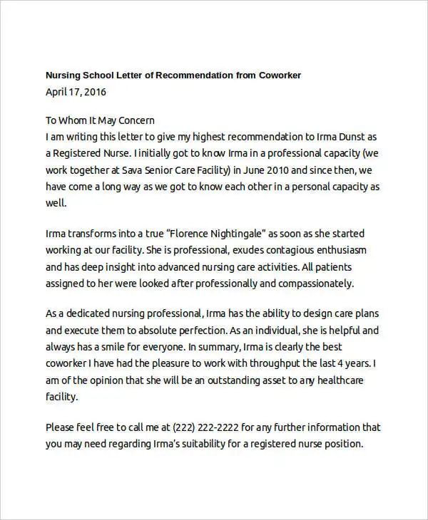 letter of recommendation for nursing school template