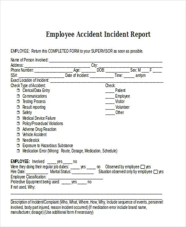 employee report of incident form