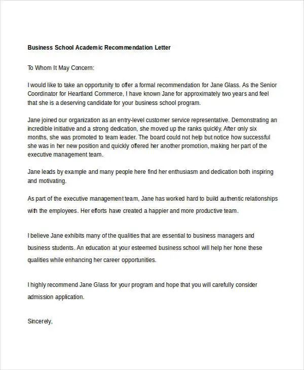 academic recommendation letter from professor