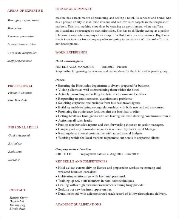 8 Sample Sales Assistant Resumes  Free Sample Example Format Download  Free  Premium Templates