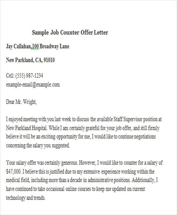 Counter Job Offer Letter Salary Docoments Ojazlink