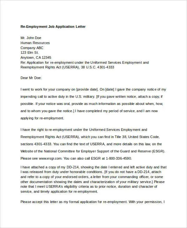 10 Job Application Letter Templates For Employment PDF