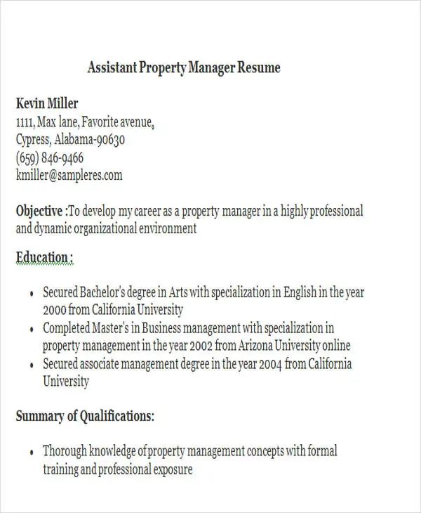 free sample assistant property manager resume