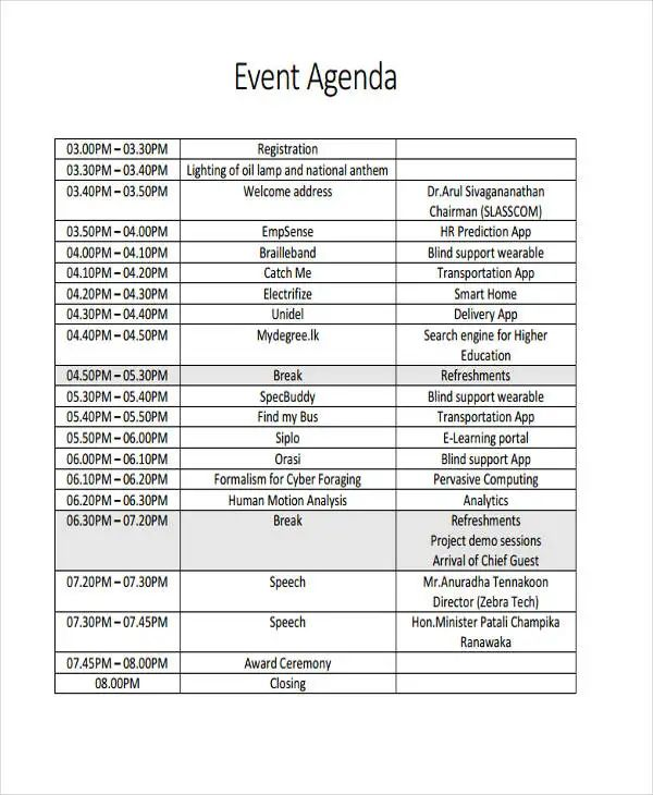 sample event itinerary