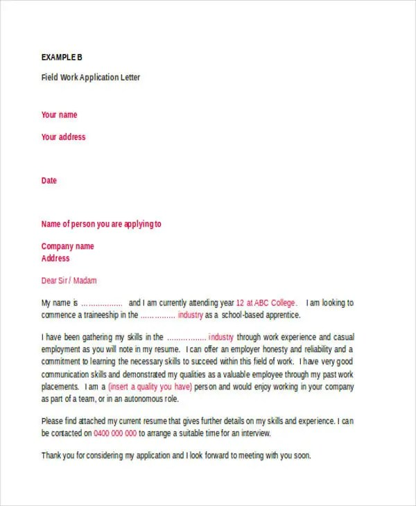 21 Sample Work Application Letters Free Sample Example