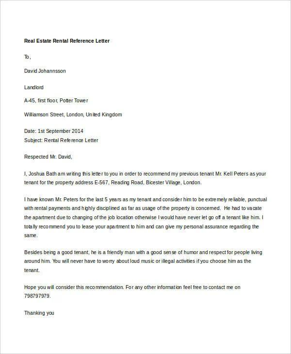 real estate reference letter sample