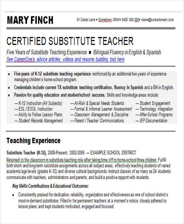 substitute teacher resume sample example