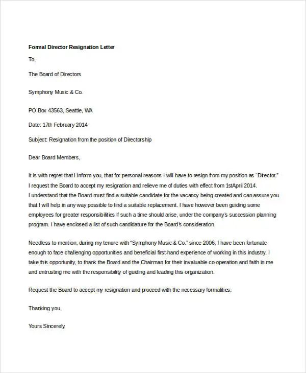 resignation letter from board of directors