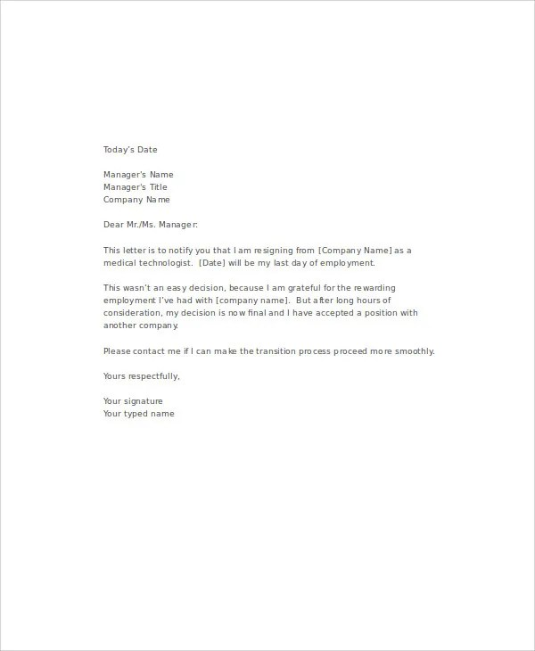 Resignation Letter Sample Medical Technologist | Docoments Ojazlink