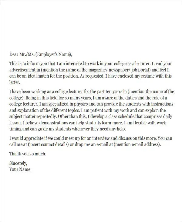 5 Job Application Letters For Teacher Free Sample