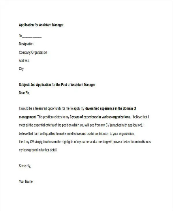 10+ Job Application Letters For Assistant  Free Sample