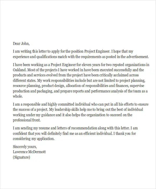 9 Job Application Letters for Engineer  Free Sample