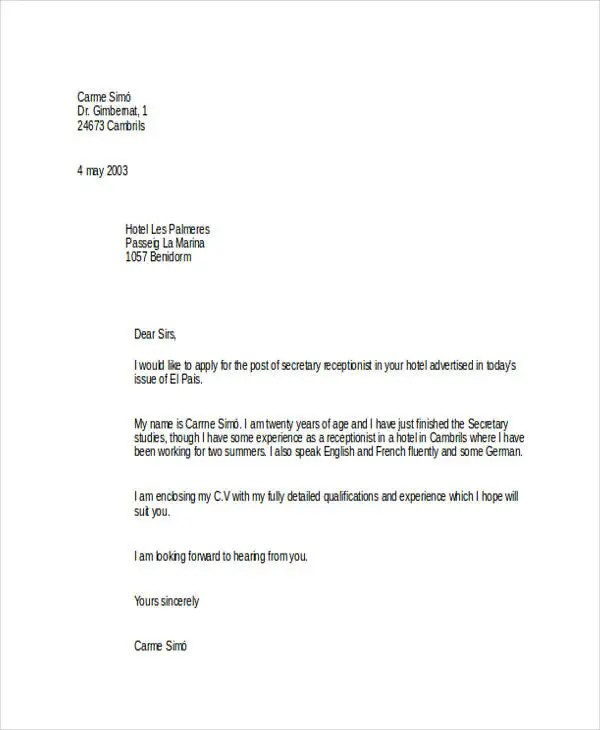 Application letter of hotel receptionist
