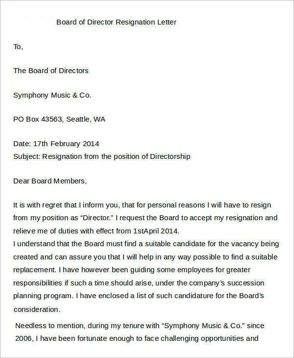 board member resignation letter template