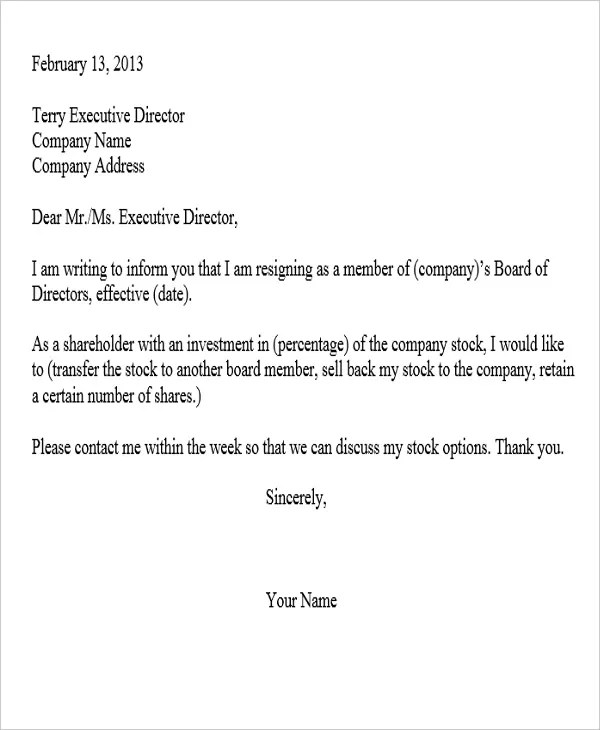 Sample Corporate Resignation Letters  10 Free Sample