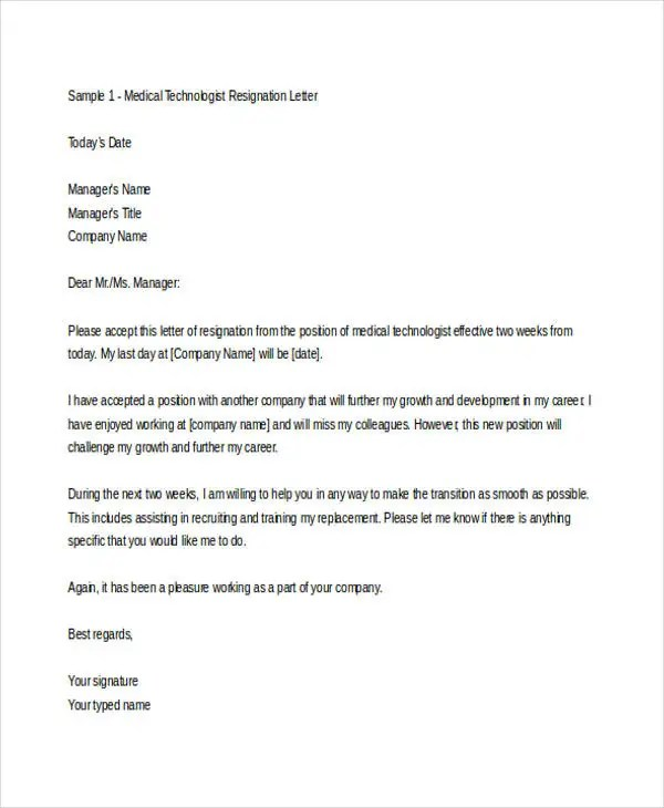 12 Sample Medical Resignation Letters  Free Sample Example Format  Free  Premium Templates