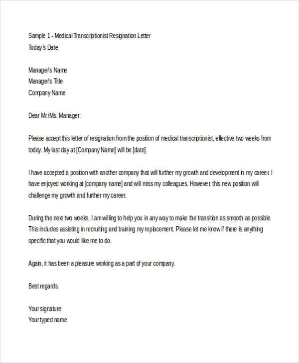 Sample Medical Resignation Letters  10 Free Sample Example Format Download  Free  Premium