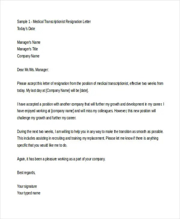 Medical Resignation Letter Template  MytemplateCo