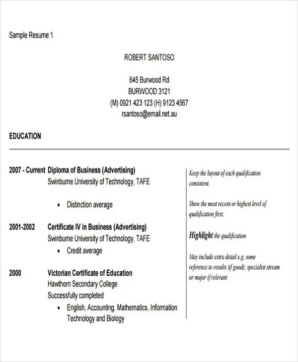 50 Business Resume Examples Free & Premium Templates