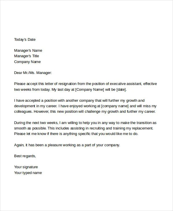 7 Business Resignation Letters  Free Sample Example Format Download  Free  Premium Templates