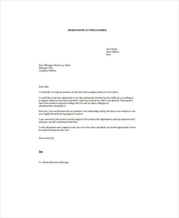 9 Sample Email Resignation Letters  Free Sample Example Format Downlaod  Free  Premium