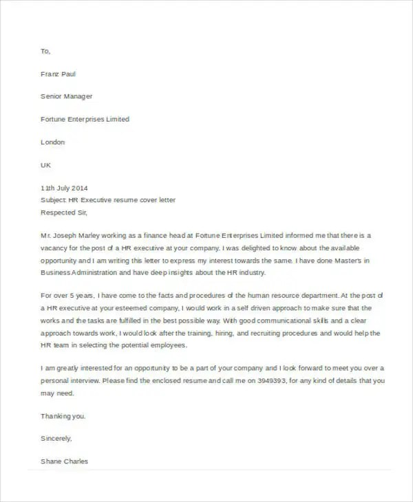 Application Letter For Hr Executive Human Resources Executive Cover Letter