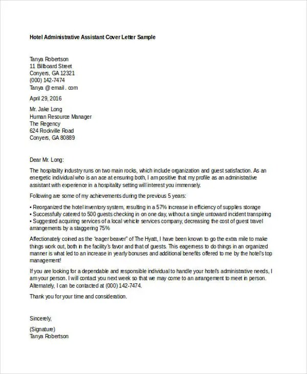 10 Job Application Letter For Administrative Assistant  Free Sample Example Format Download