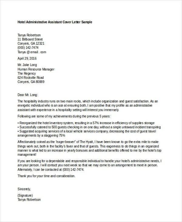 Hotel Job Cover Letter Seatle Davidjoel Co