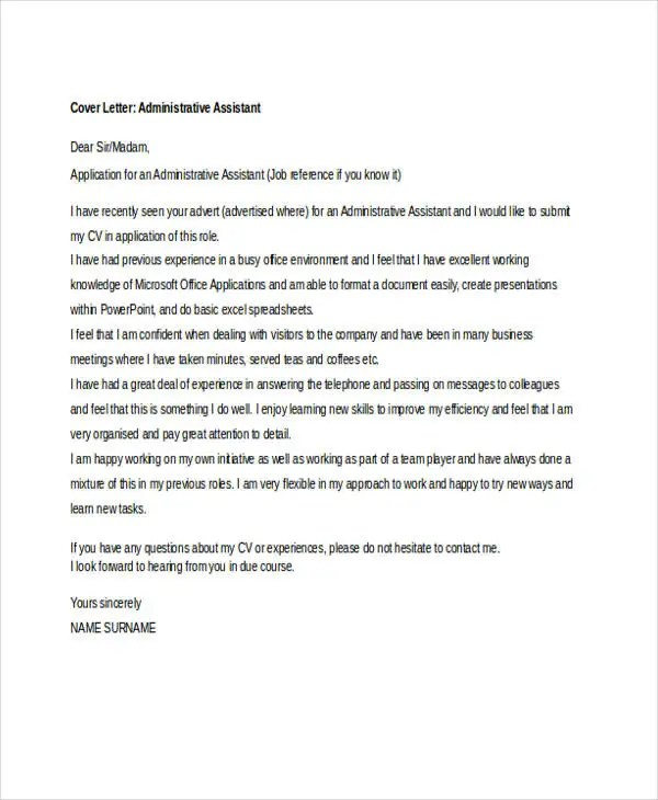 10 Job Application Letter For Administrative Assistant
