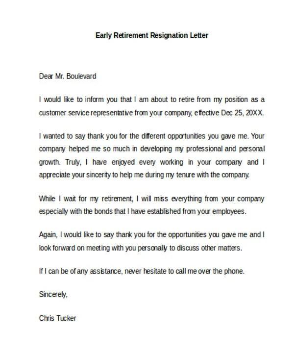 Early Retirement Resignation Letter Uk