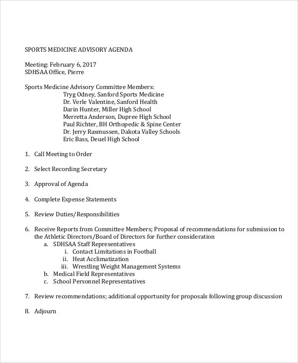 10 Sample Advisory Agenda Free Sample Example Format