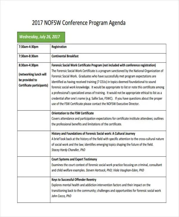 work agenda template