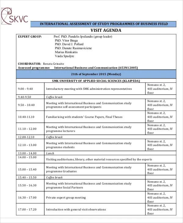 visitor schedule template