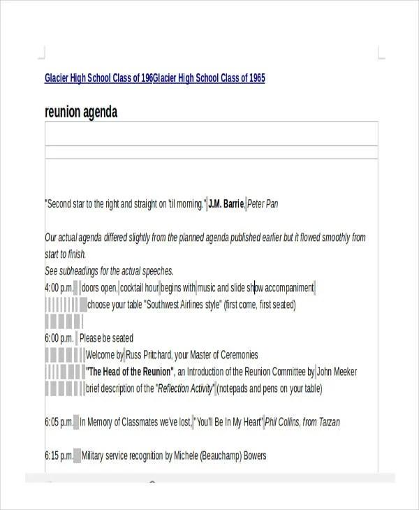 9 Reunion Agenda Templates Free Word PDF Format