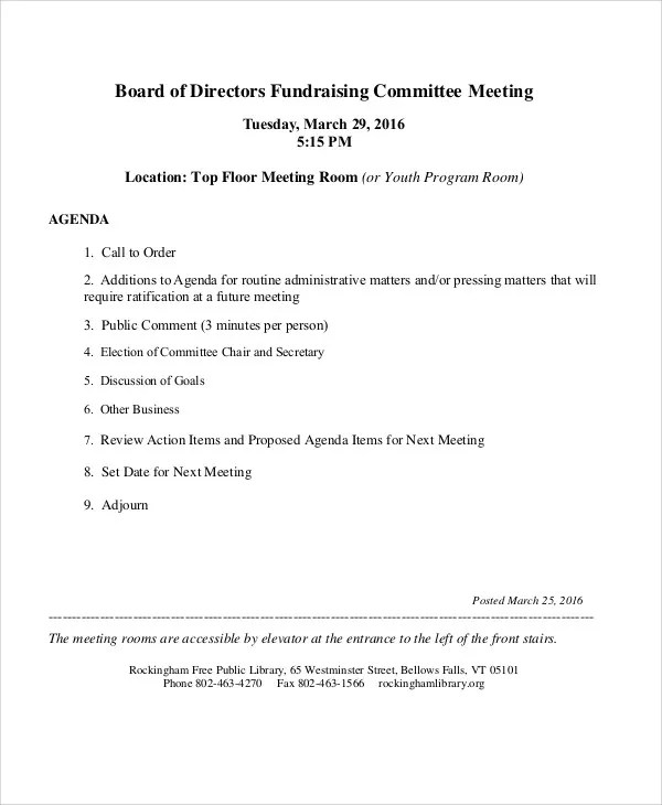 11 Sample Committee Agenda Free Sample Example Format