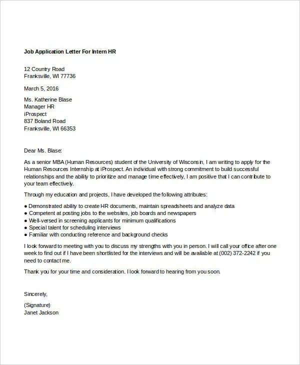 13 Sample HR Job Application Letters Free Sample Example Format Download Free Amp Premium