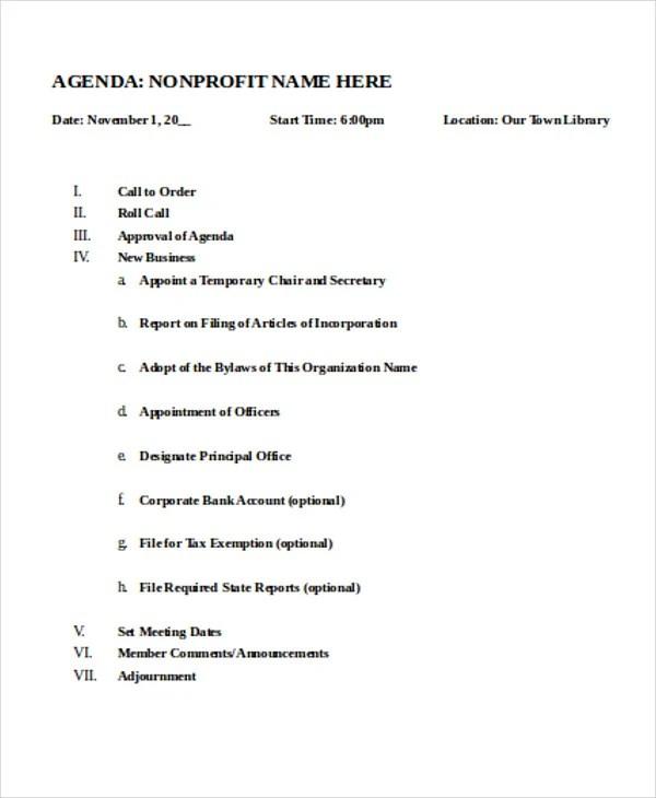 Nonprofit Agenda Templates 7 Free Sample Example