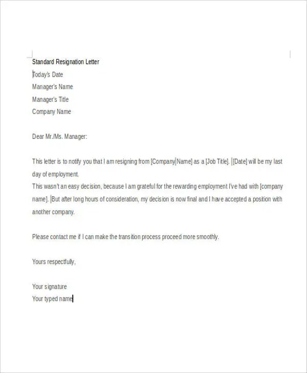 Formal Resignation Letter Notice Period   Make A Resume ...