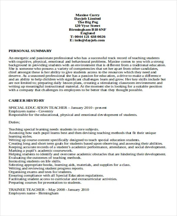 29 Basic Teacher Resume Templates PDF DOC Free