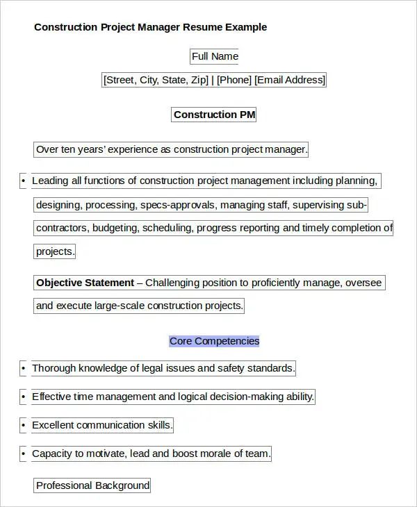 example resume construction project manager