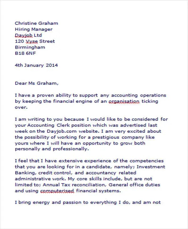 Professional Accounting Clerk Cover Letter Sle Create