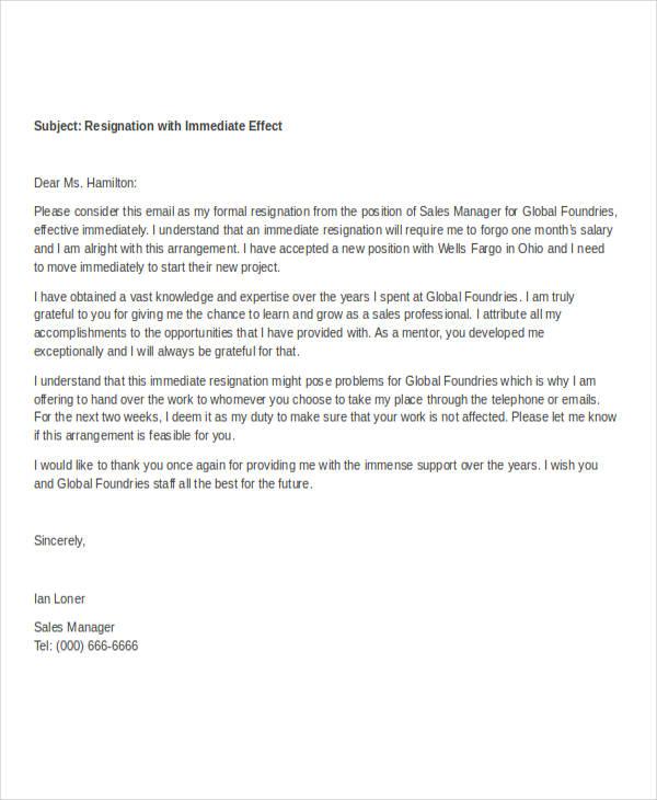 40 Resignation Letter Example  Free  Premium Templates