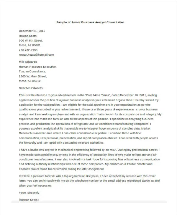 46 Free Cover Letter Samples  Free  Premium Templates