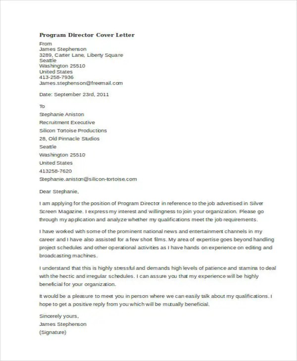 45 Cover Letter Templates  Free  Premium Templates