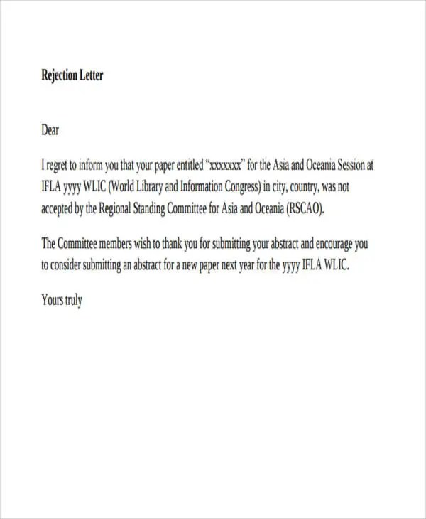 37 Rejection Letter Sample Free & Premium Templates