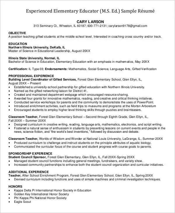 professional elementary teacher resume template