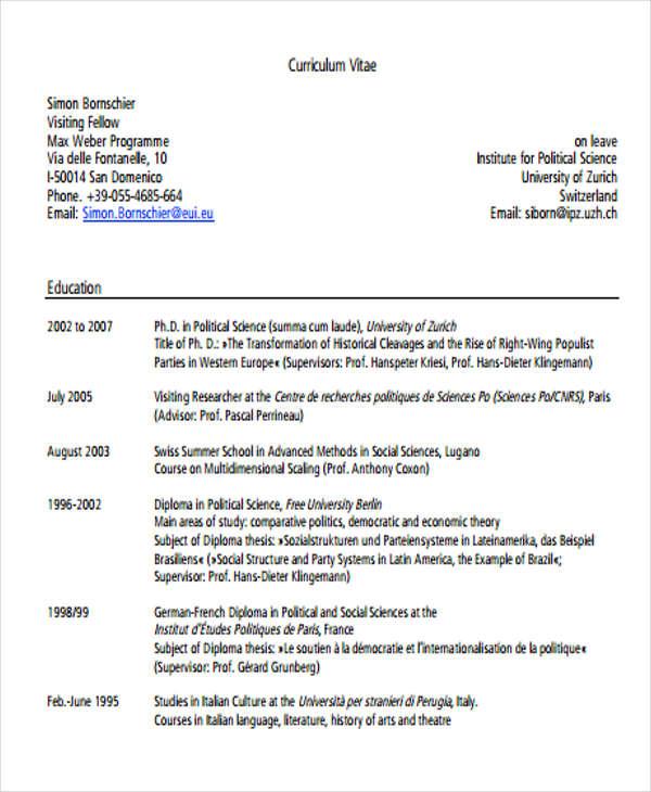 10 Education Curriculum Vitae Templates PDF DOC Free