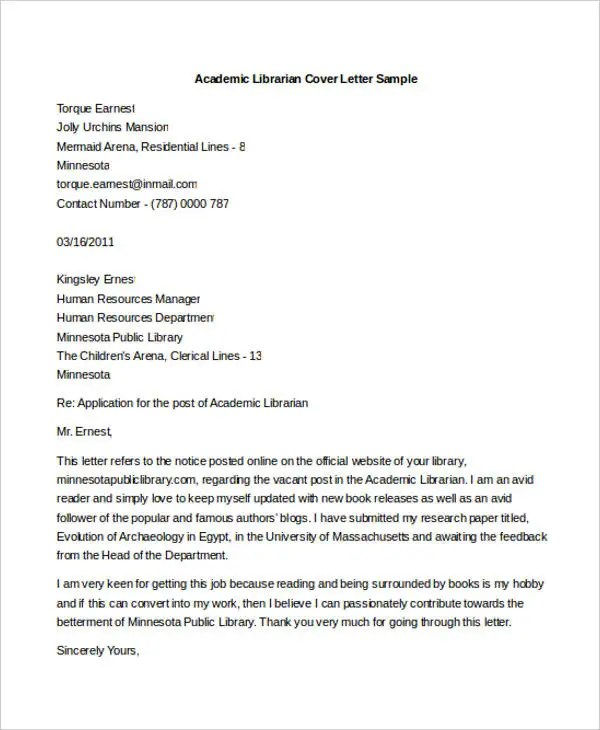 9 Librarian Cover Letters  Free Sample Example Format Download  Free  Premium Templates