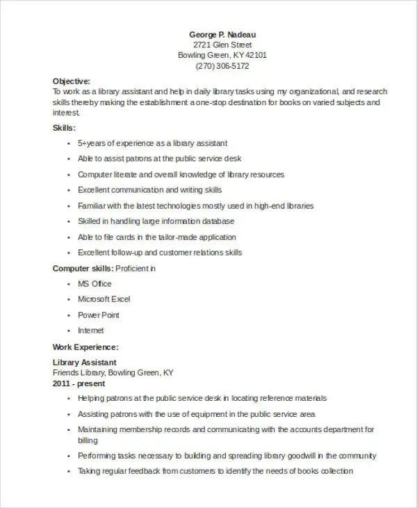 9 Librarian Resume Templates Free Sample Example Format Download